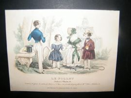 Le Follet C1840's Hand Coloured Fashion Print 858. Children, Gentleman